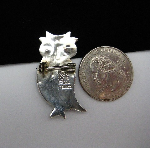 Vtg TAXCO Mexican Sterling Silver Owl Brooch Pin Cute