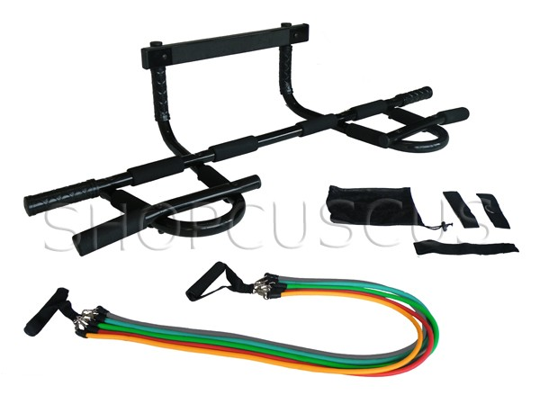 New Doorway Chin Up Pull Up Bar With 5 Resistance Bands Ebay
