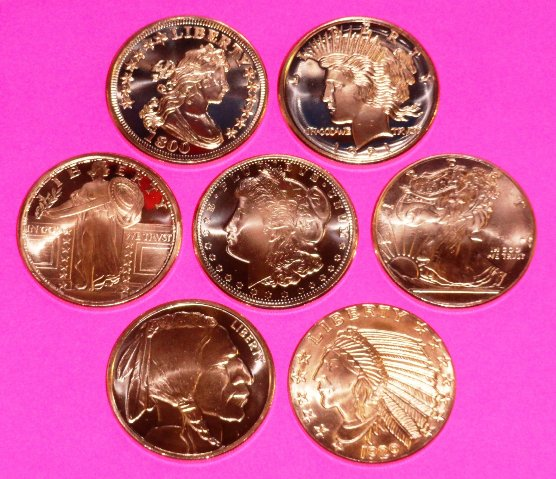 7 New Copper Coins 1 Oz Each Incuse Indian Peace