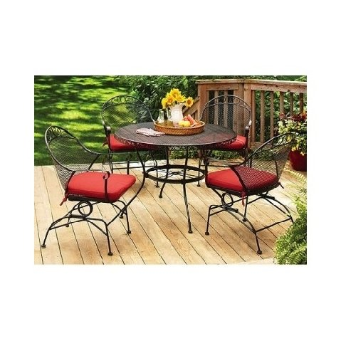 Patio Deck Outdoor Dining Set 5 Pc Red Chair Cushion Mesh