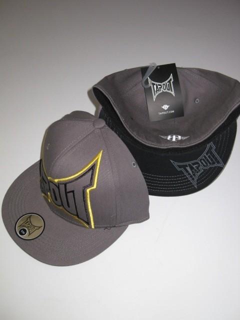 front logo grey yellow black tapout flexfit hat cap mma