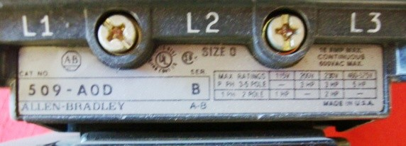 ab allen bradley 509 aod motor starter control nema size 0. Black Bedroom Furniture Sets. Home Design Ideas