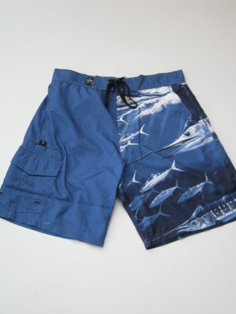 Guy harvey blue boardshorts board shorts fishing plier for Fishing board shorts