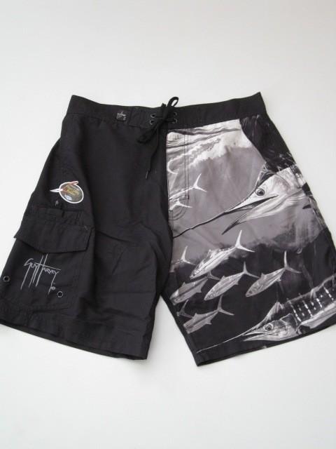 Guy harvey black boardshorts board shorts fishing plier for Fishing board shorts